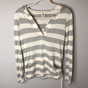 Roxy • Cream Striped Sz XS Long Sleeve Hoodie